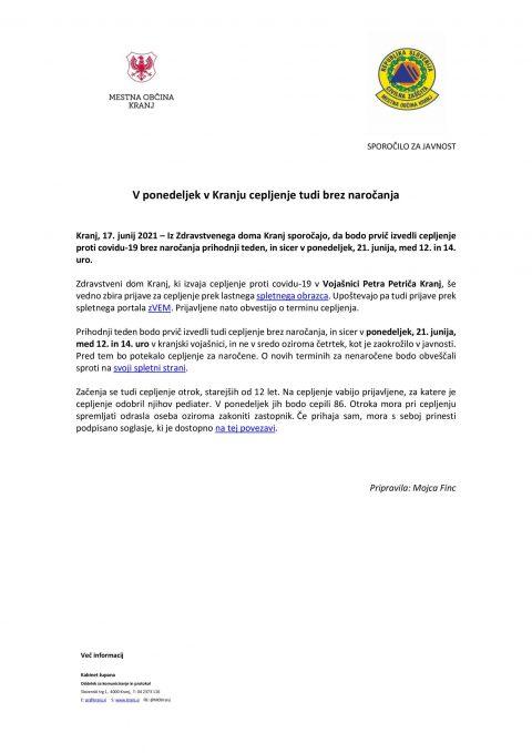 V ponedeljek v Kranju cepljenje tudi brez naročanja